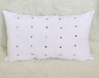 Rhinestone Pillow- White Pillow- Lumbar Pillow- Linen Pillow, Throw Pillow, Nursery Decor