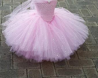 Pink Tutu Dress -Princess Dress-  Stunning Pink  Glittery Gown dress inspired by FunkidsandUs Boutique