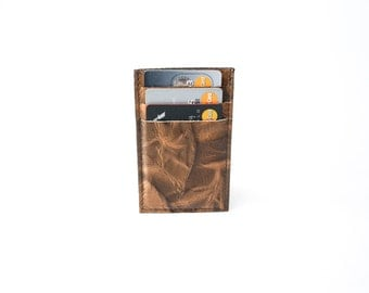 25 % OFF Slim Mens Card Holder Wallet - Genuine Leather - Brown Two Tone