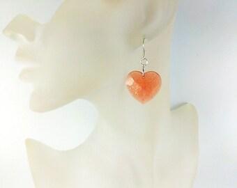 Orange earrings Orange jewelry Orange heart earrings Apricot earrings Love gift for her Earrings Gold heart earrings Love heart charm