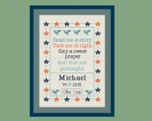 cross stitch baby birth sampler, birth announcement, whale, bedtime prayer, DIY customizable pattern** instant download**