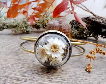 Floral bracelet, botanical bracelet,real flower jewelry, woodland bracelet,flower bracelet,real plant jewelry,dried flowers jewelry, boho
