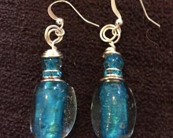 Czech Glass Aqua Dangle Earrings