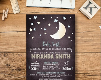 Moon Baby Shower invitation, moon boy Shower Invitation, Moon Invites, Stars Shower Invite, Loved to the Moon, free thank you cards, MO