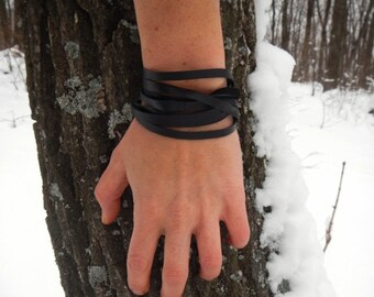 Leather black wrap bracelet Lines, leather bracelet, leather bracelet for women, wrap leather bracelet,