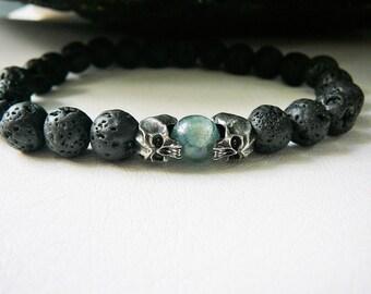 Men's Skull Bracelet, Men's Bracelet, Men's Beaded Bracelet, Skull Jewelry, Blue Kyanite, Rustic Black Lava, Urban Tribal Bracelet For Men