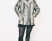 VTG 1940s | Cloud Gray Faux Lambskin Coat | Boho | Faux Fur |