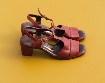 60's Red Leather Heels (6.5) Made in California