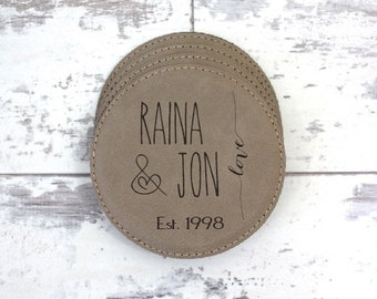 Coaster Set - Set of 6 Personalized Leather Coasters With Holder - Housewarming Gift, Anniversary Gift, Wedding Gift