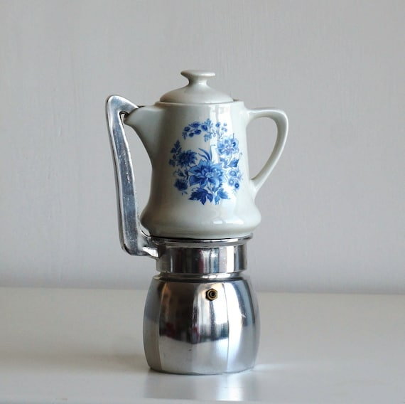 Blue Italian Coffee Maker : Coffee Maker Porcelain jug blue flowers Vintage stovetop