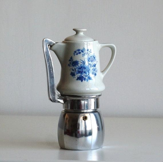 Ceramic Espresso Maker ~ Coffee maker porcelain jug blue flowers vintage stovetop
