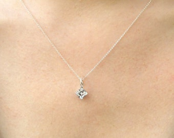 Diamond Crystal Pendant Silver Necklace, Sterling Silver Layer Long Necklace, Dainty Simple Necklace, Bridal Jewelry, Valentines Gift