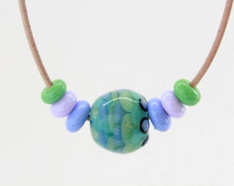 Green Lampwork Necklace, Handmade Glass Lampwork Beads Necklace, Green Necklace, Adjustable Necklace, Bead Leather Necklace, Mint, Mauve
