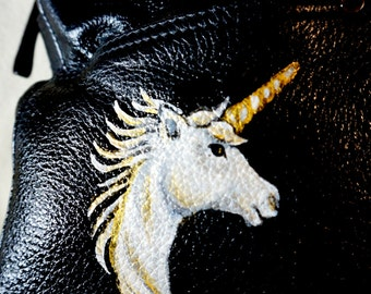 "Tiganello Large Leather Handbag, Many Compartments, ""Fantasy"" Unicorn Design, One of A Kind"