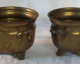 Vintage Pair of Footed Brass Planters/Pots.  Two Piece Set.