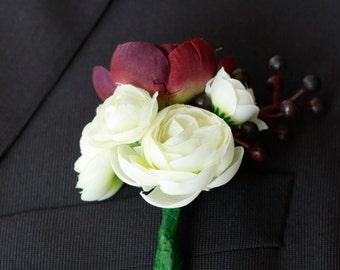 Silk Plum and Ivory Woodland Romantic Boutonniere