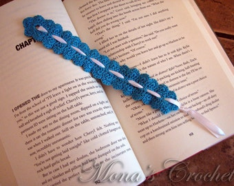 Beautiful Hand Crocheted Blue Scalloped Bookmark With White Ribbon | Bookmark For Mom | Women's Bookmark | Lady's Bookmark | Blue Bookmark