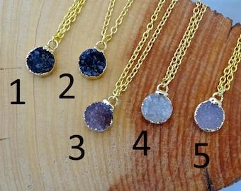 Small Quartz Druzy Gold Necklace