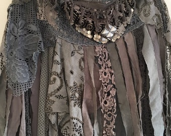 Boho skirt tattered , wild women  skirt from RAWRAGS,wild Elven skirt, festival boho skirt,women's skirt , tattered cotton skirt,gypsy skirt