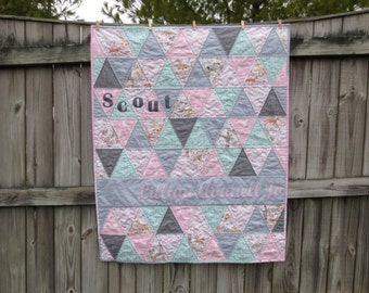 Personalized Baby Quilt, Triangle Baby Quilt, Custom Triangle Quilt, Nursery Decor, Newborn Photo Prop, Baby Playmat, Toddler Quilt