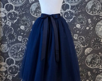 Navy Tulle Skirt With Ribbon Waistband - Blue Adult Tea Length Tutu - Custom Size, Made to Order