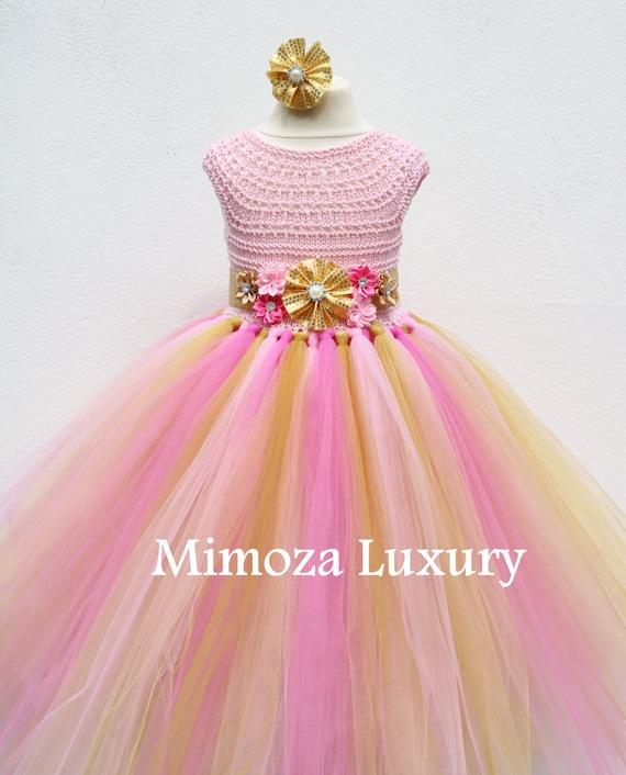 Pink and Gold Flower girl dress, Peppa Pig tutu dress, bridesmaid dress, princess dress, pink crochet top tulle dress, peppa pig dress