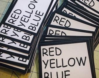 Vinyl Sticker - Red Yellow Blue