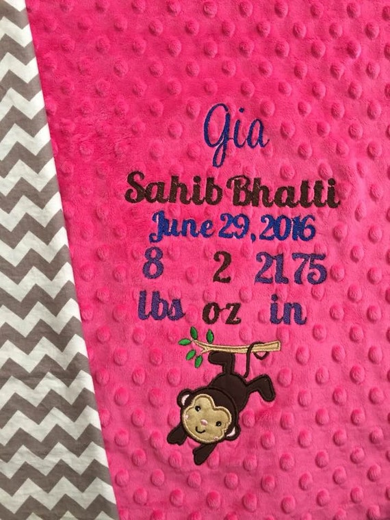 Personalized Birth Details Baby Blanket Monkey