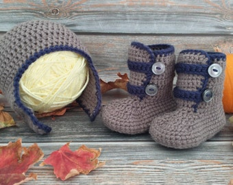 Crochet Baby Hat and Boot Set - Crochet Baby Set - Baby Hat and Booties - Baby Boy Hat and Boots - Earflap Hat and Strappy Boots
