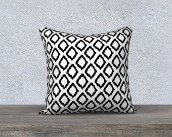 Ikat pillow with insert  - Ikat Cushion  - Modern Decor - Black pillow with insert  -18x18 or 20x14 - Decorative pillow with insert