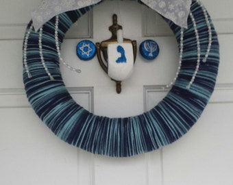 Hanukkah Wreath, Chanukah Wreath, Dreidel Wreath