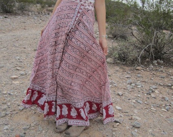 Stunning Vintage India Cotton Gauze Block Print Bohemian Goddess Long Wrap Skirt.......