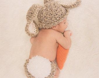 Crochet Bunny Pattern -  Flopsy Bunny Photo Prop Crochet Pattern Infant Newborn Baby Easter Spring