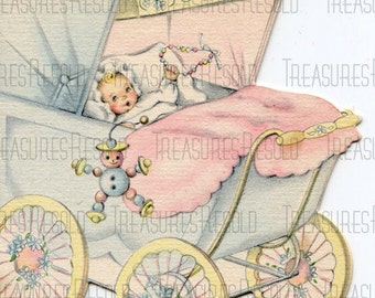 Congratulations New Baby In Buggy Stroller Card #448 Digital Download
