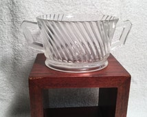 Federal Glass Depression glass clear Diana pattern oval ribbed Open Sugar Bowl Art Deco inspired (1937)