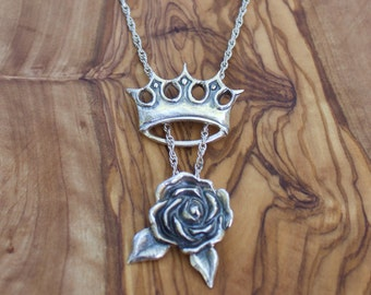 The Rose Queen necklace, Silver Tarot Necklace, Tarot Rose Pendant, Tarot Jewelry, The Incidental Tarot, Silver Rose Necklace