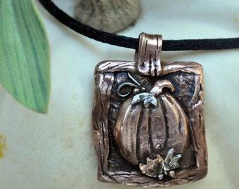 Copper Pumpkin Autumn Pendant Necklace
