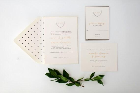 nora wedding invitation sample set -  monogram laurel  // lola louie paperie