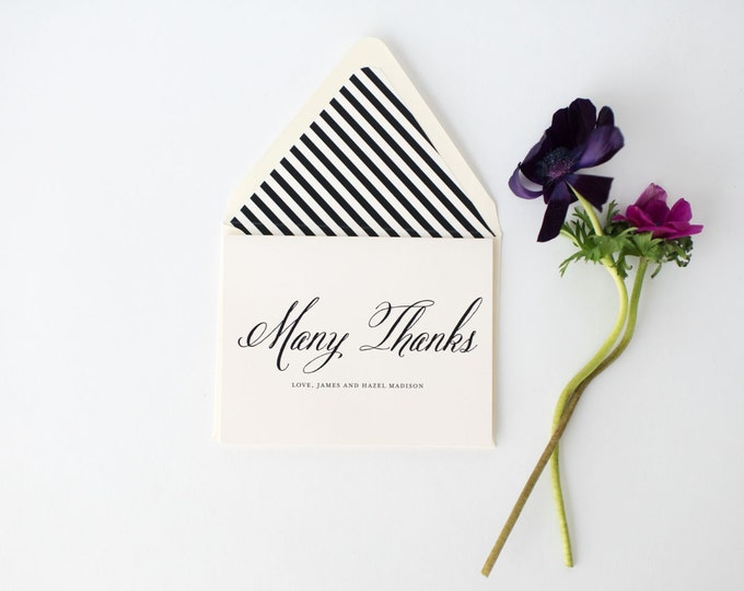 hazel wedding thank you cards  // personalized thank you cards / card set / stationery / traditional classic black white calligraphy modern