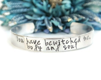 You Have Bewitched Me Body And Soul Hand Stamped Bracelet Cuff | Pride And Prejudice Quote | Jane Austen | Gifts For Her | Girlfriend Gift