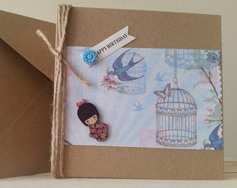 Girl Birthday Card - Happy Birthday - Birthday Card for Girls - Geisha Girl Bluebird Sister Card Daughter  Teenager