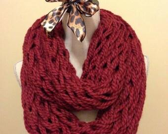 Burgundy Arm Knit Scarf