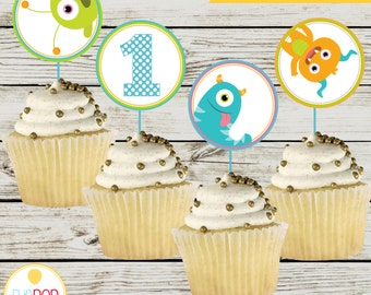 LITTLE MONSTER BIRTHDAY * Cupcake Toppers * First Birthday * Decorations * Digital Printables * Instant Download