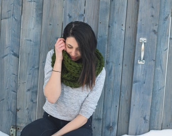 Knit thick infinity scarf | Winter scarf | Knitted wool scarf | | Knit accessories | Forest green scarf | Big warm scarf | Hot neckwarmer |