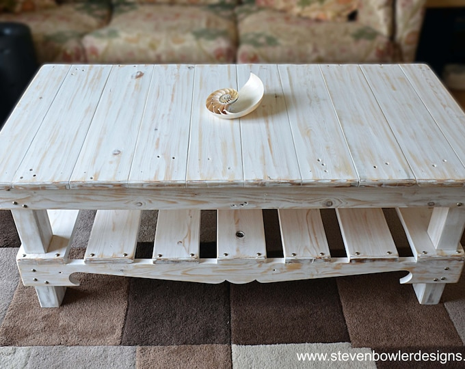 FREE UK SHIPPING Reclaimed Wood Coffee Table White Nautical Style Finish Decorative Silver Tacks & Undershelf Storage Handcrafted to Order