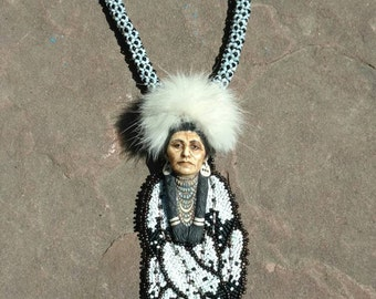 Eagle warrior pendent Native American inspired beadwork jewelry by Beadwork Dreams Raven. Laura mears cabochon