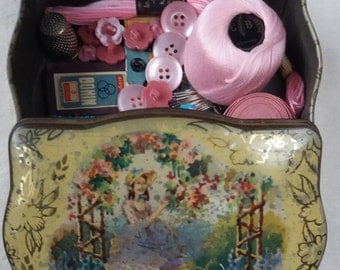 Vintage Pink Sewing Supplies_ English Tin From Barker&Dobson
