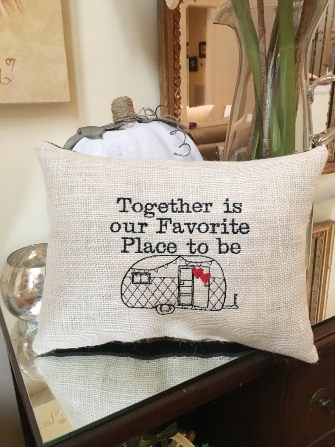 Decorative Pillows Travel Theme : RV Decorative Pillow Home & Camper RV Decor Together is Our