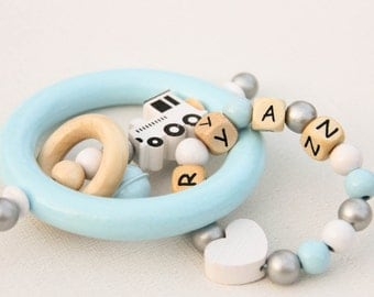 Personalized wooden teether - wooden toy - baby rattle - rattle teether - beaded toy - baby boy - baby gift - personalized baby gift