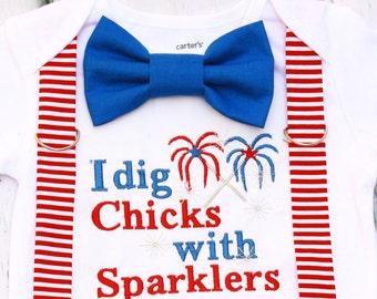 Baby boy I dig chicks with sparklers, Baby boy fourth of July onesie, Baby boy 1st fourth of July outfit, Red striped suspender set